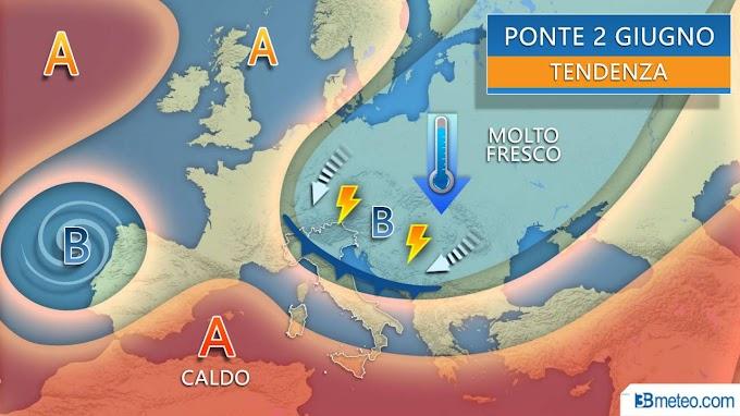 3BMeteo: ponte del 2 giugno variabile tra sole e rischio di acquazzoni e temporali