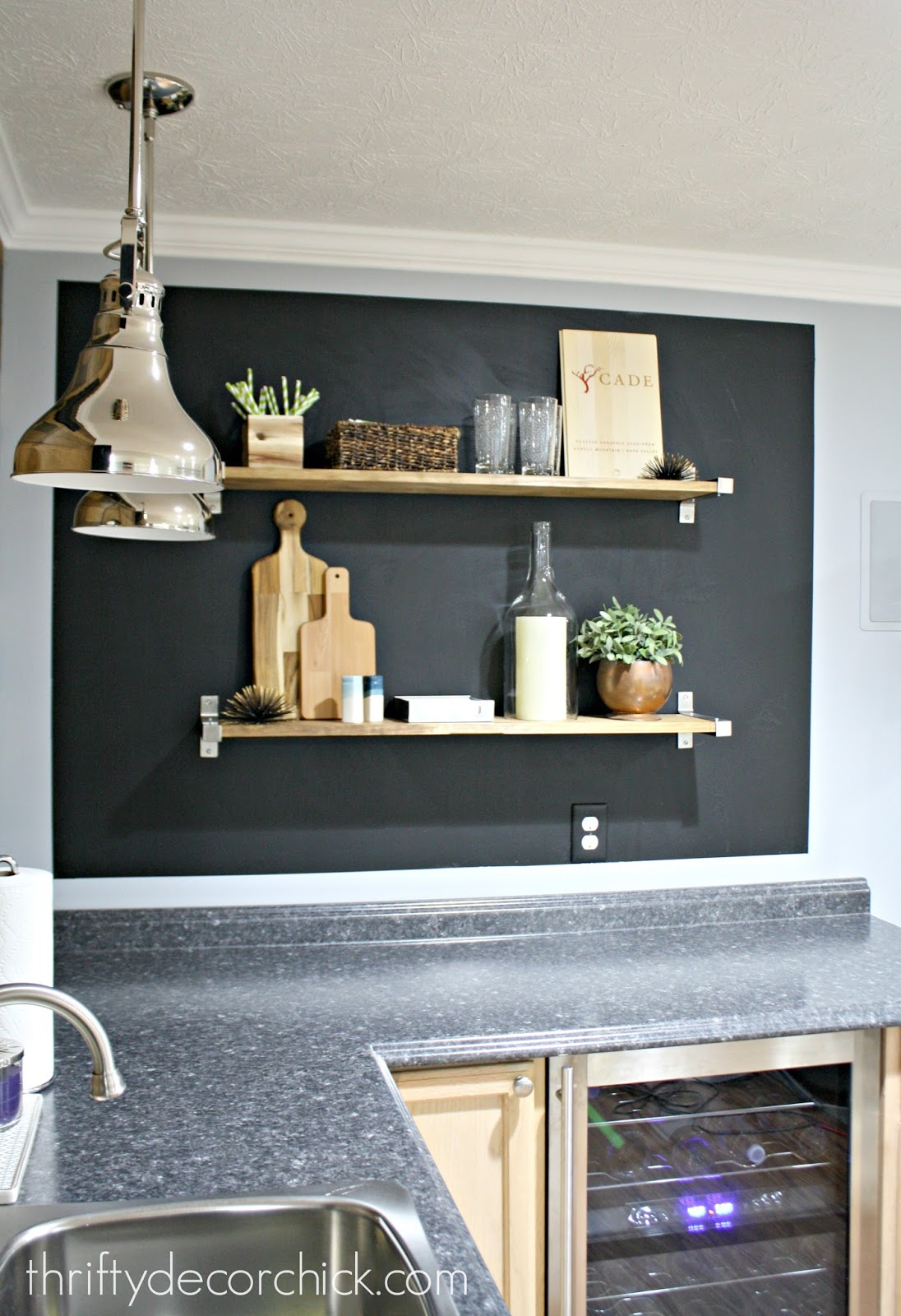 Chalkboard Wall And Open Shelving In The Basement From