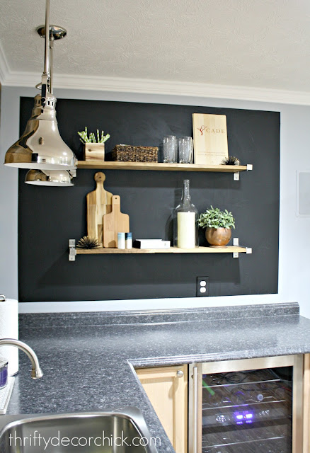 Kitchenette with wood shelves