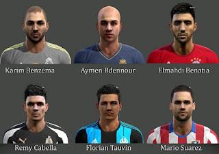 Faces: Karim Benzema, Abdennour, Benatia, Cabella, Tauvin, Mario Suarez, Pes 2013