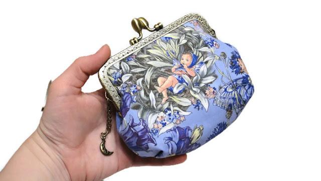 Фея Незабудка - синий кошелек из ткани, подарок молодой маме. Косметичка, мини сумочка на цепочке