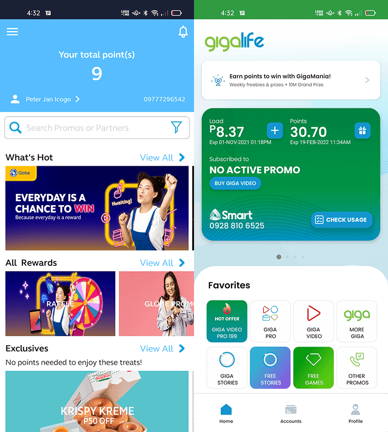 App interface of Globe Rewards and GigaLife for GigaPoints