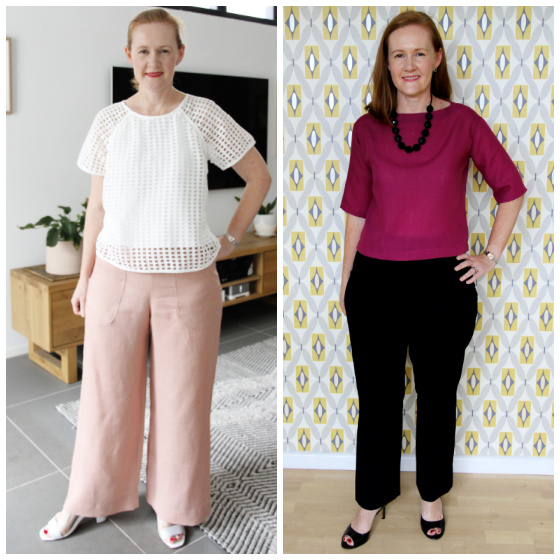 a white lady with red hair posing in a pair of pink wide leg pants and a white top, and in a pair of black straight leg pants and a fuchsia coloured top