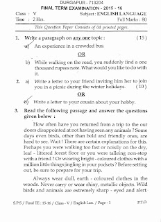 Question Paper English Language of a School  Final year