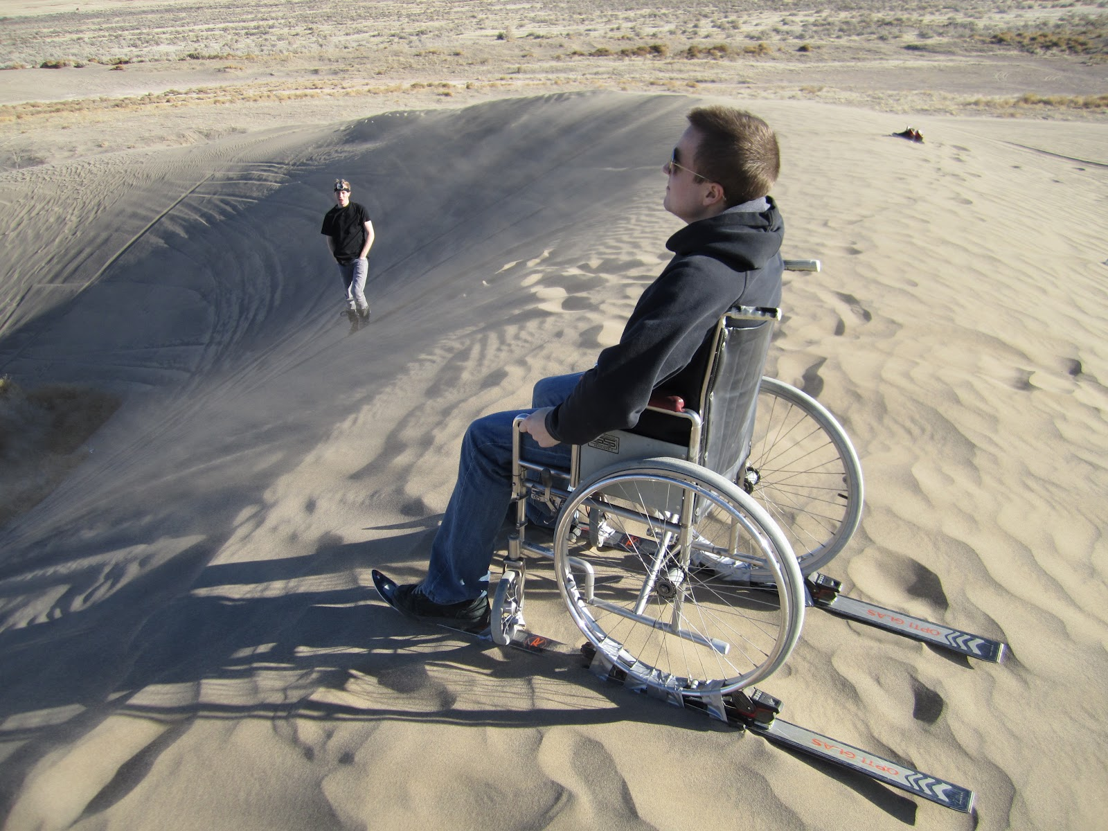 wheelchair skiing leather sleeper chair canyon 39s adventure craze sandboarding the oak city sand dunes