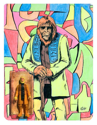 Designer Con 2019 Exclusive KRBtronic Planet of the Apes Figures with Hand Illustrated Card Backs by Manly Art x DKE Toys