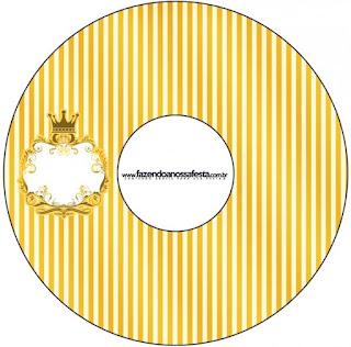 Etiquetas de Corona Dorada en Azul y Amarillo  para CD's.