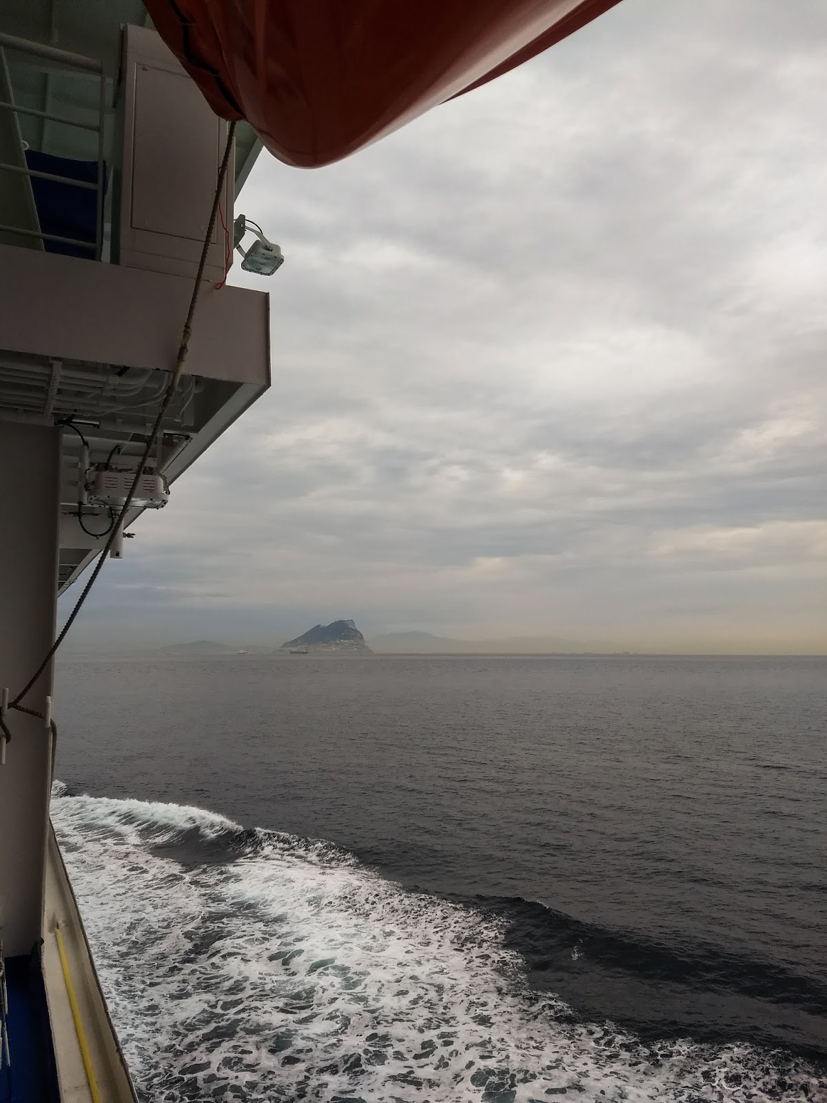 View of the Rock of Gibraltar from the Sapphire Princess cruise ship.