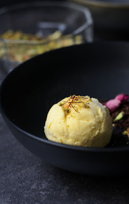 Saffron and Rosewater ice-cream