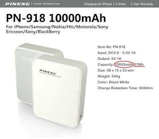 "Contoh spesifikasi power bank merk ""PINENG"""