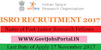 Indian Space Research Organization Recruitment 2017–72 Junior Research Fellows & Research Associates