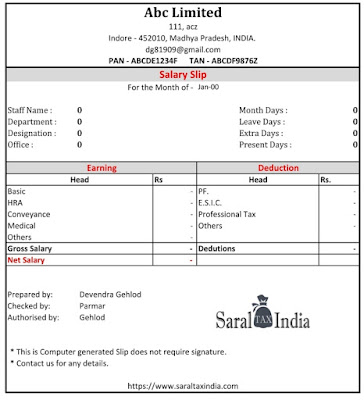 Free Salary slip register without password with employee register