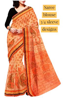 Affordable beautiful saree blouse 3/4 sleeve designs, Silk saree with blouse designs. 1 label Ashish Kumar