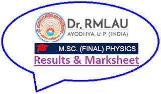 RMLAU M.Sc Physics Final Result 2021