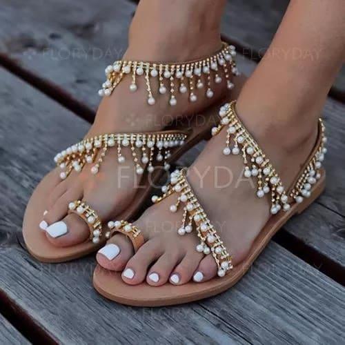 Pearl Tassel Toe Ring Flat Heel Shoes