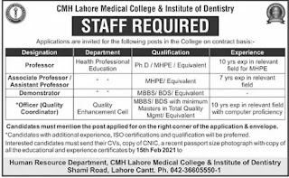 Medical Staff Required at CMH Lahore Medical College & Institute of Dentistry