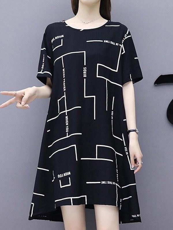 Vestido Preto Estampa Geométricas