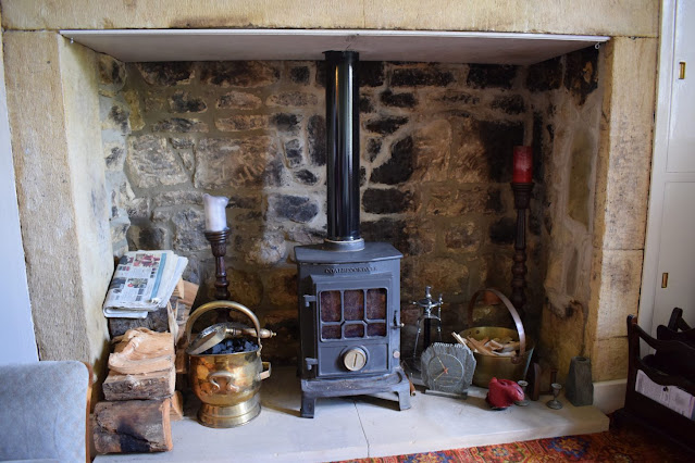 My first Air BnB Experience at Simonside Cottage in Rothbury fireplace