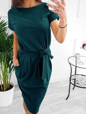 V neck office work dresses