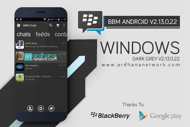 BBM Windows Phone Dark Grey - BBM MOD Android V2.13.0.22