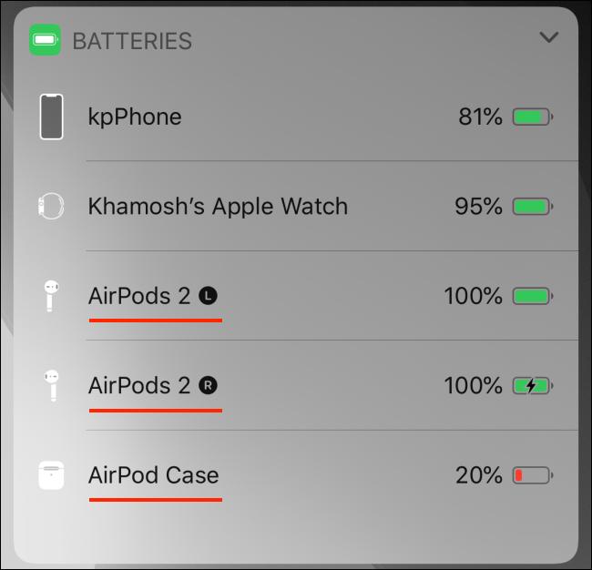 القطعة البطاريات تظهر بطارية AirPods على iPhone