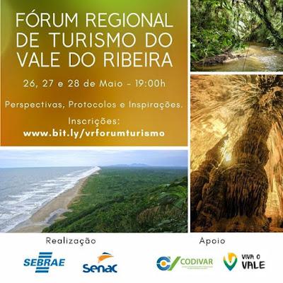 PARTICIPE DO FÓRUM REGIONAL DE TURISMO DO VALE DO RIBEIRA, ENTRE OS DIAS 26 E 28 DE MAIO