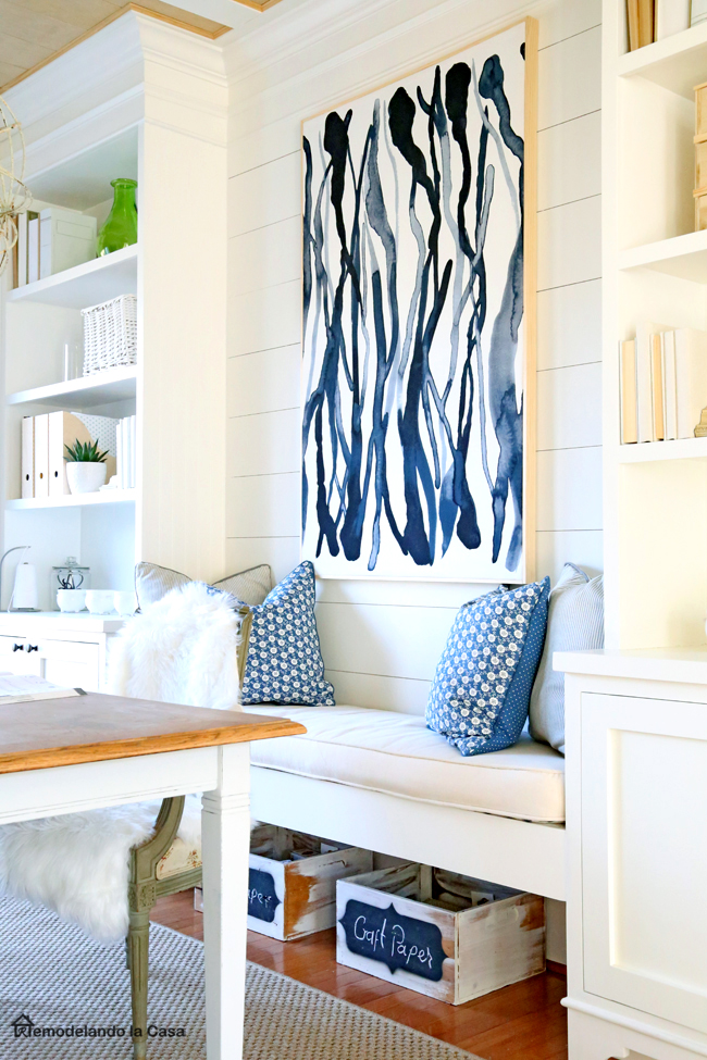 Hanna Delrot fabric used for wall art in home office space with build-ins, shiplap, bench and pillows