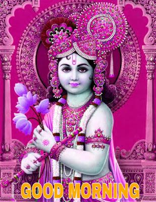 good morning images with god krishna image