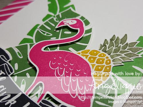 http://stempelkeuken.blogspot.com/2016/07/stampin-up-pop-of-paradise-dag-1.html Stempelkeuken, Pop of Paradise, Melon Mambo, Cucumber Crush, Stampin' Write Markers, Garden Green, Paper Snips,