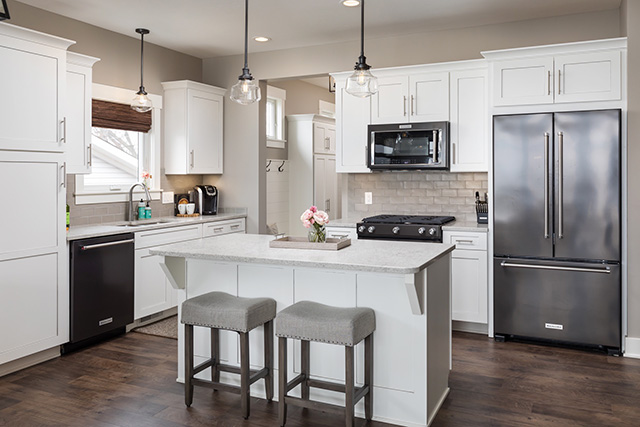 Lake House Design Client Reveal Michaela Noelle Designs | House Plans With Stairs In Kitchen | Upstairs | Country Kitchen | Hidden Pantry | Luxury | Small House