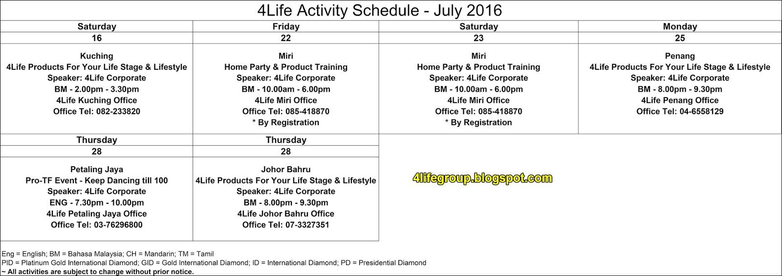 foto Jadual Aktiviti Bulanan Julai 2016 4Life Malaysia