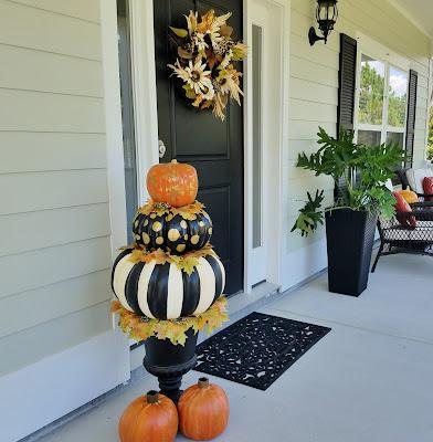 large designer look pumpkin topiary