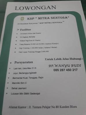 """Lowongan kerja terbaru di KSP """"MITRA SENTOSA"""" BLORA - JAWA TENGAH"""