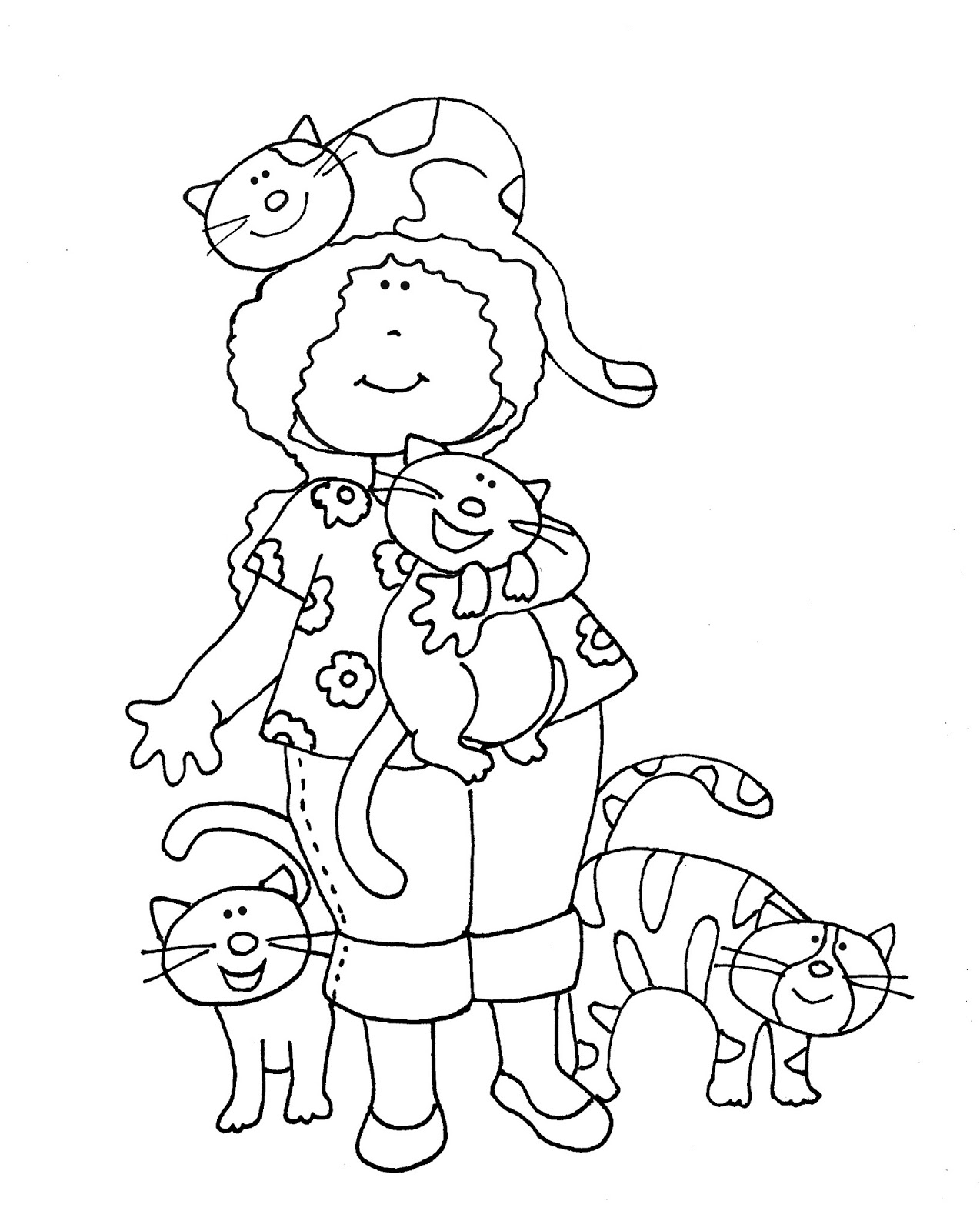 Free Dearie Dolls Digi Stamps Girl With Her Cats Color