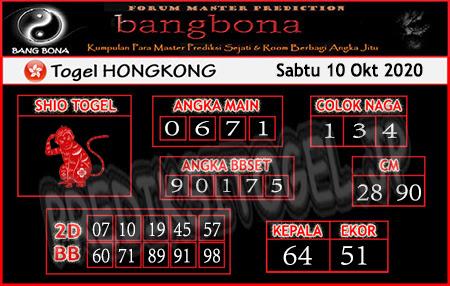 Prediksi Bangbona HK Sabtu 10 Oktober 2020