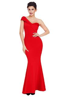 Women-one-shoulder-Red-Color-Dress