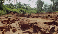 Red/brown dirt ravines with green forest in the background - soil erosion from deforestation