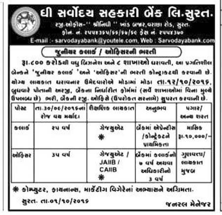 The Sarvodaya Sahakari Bank Ltd. Surat Recruitment 2016 for Clerk & Officer Posts
