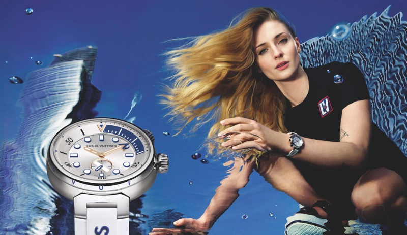 Actress Sophie Turner poses for Louis Vuitton Tambour Street Diver watch campaign.