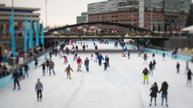 Ice-skating at Buffalo's Canalside is a popular winter activity.