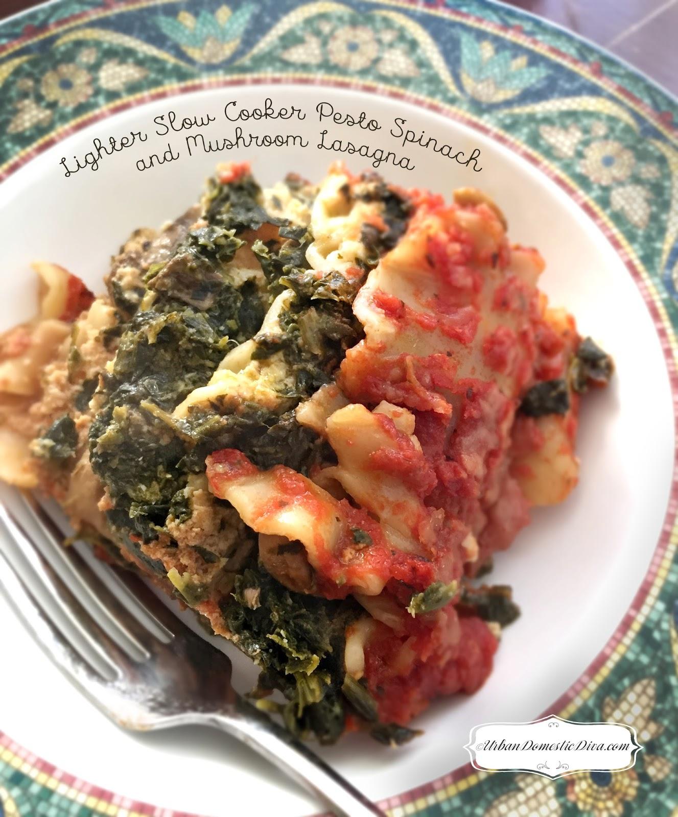 RECIPE: Lighter Slow Cooker Pesto Spinach and Mushroom Lasagna