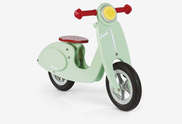 Janod Mint Scooter Stylish, retro, wooden balance bike, Helps boys and girls learn balance and coordination