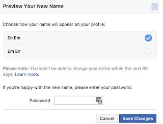Cara mengubah nama di facebook anda