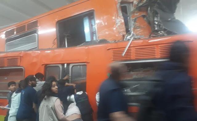 así quedaron convoyes del metro tras impacto