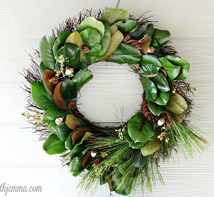 Fresh Handmade Holiday Magnolia Wreath