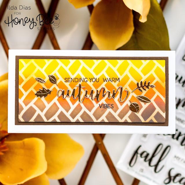 Autumn Splendor,Distress Oxide blending,Honey Bee Stamps,Ink Blending,Fall,Bitty Buzzwords Seasons,Sneak Peek,Card,Sweet Stacks Mini Slimline,Card Making, Stamping, Die Cutting, handmade card, ilovedoingallthingscrafty, Stamps, how to,