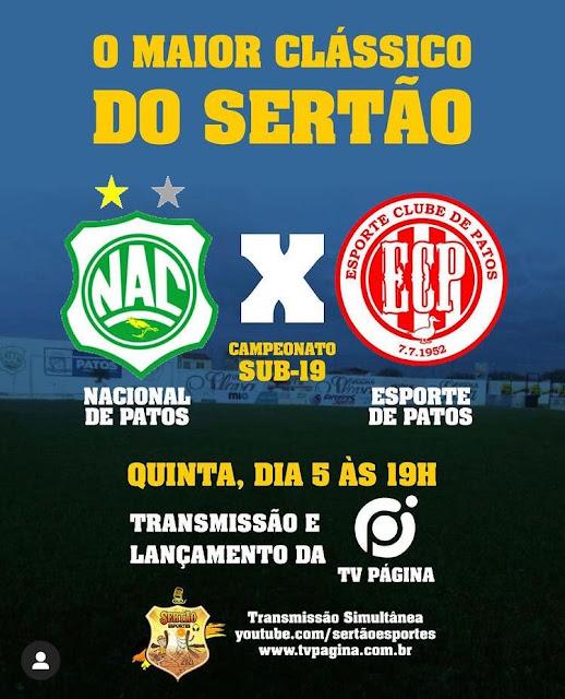Maior clássico Sertanejo acontece hoje à noite pelo Paraibano sub-19