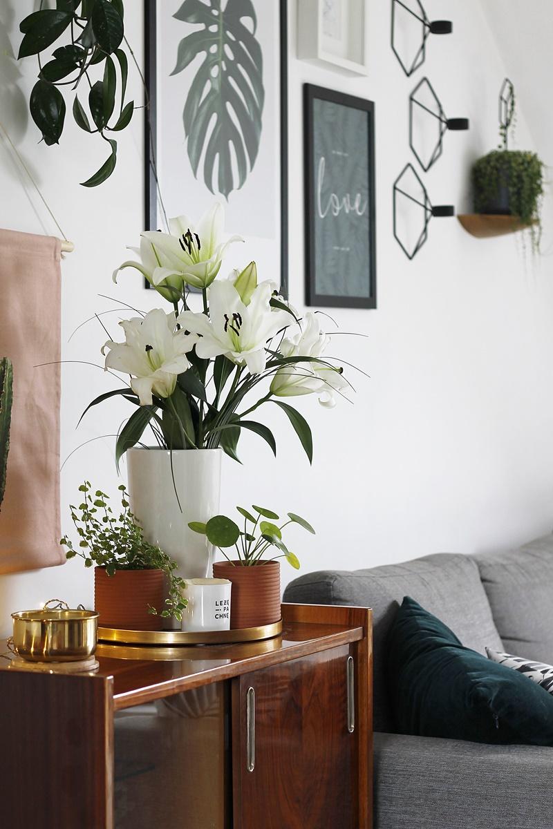 szafka, meble prl, midcentury furniture, retro furniture, stare meble, meble po renowacji, lilie, pilea, leżę i pachnę, brass decoration