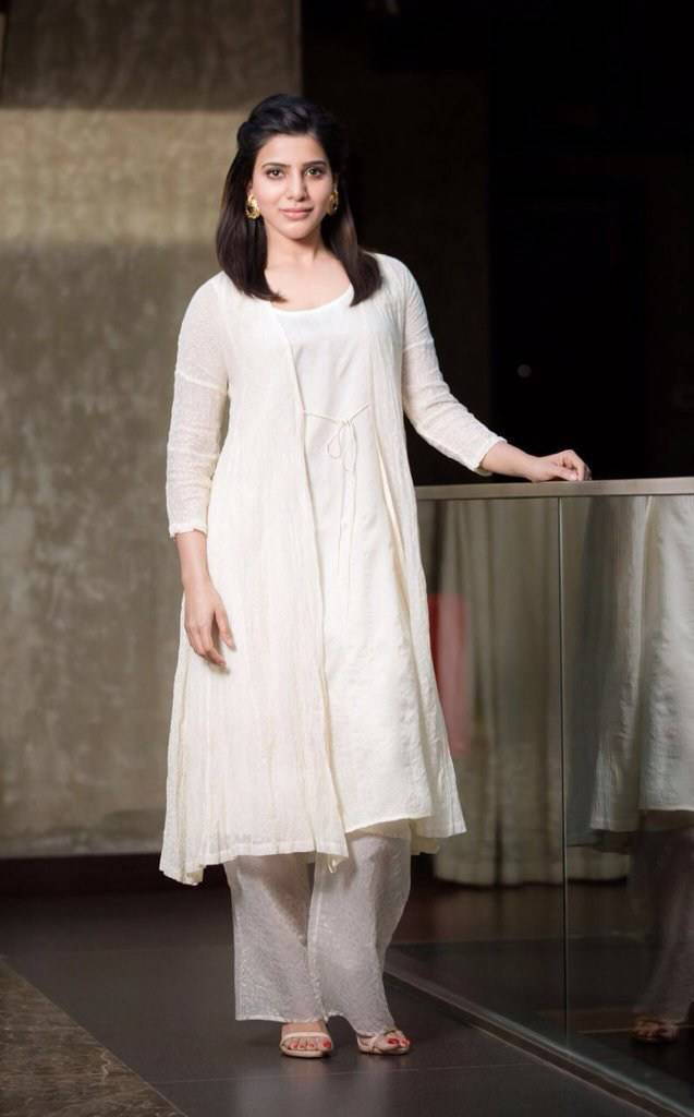 Actress Samantha Long Hair Smiling Face Photoshoot In White Dress