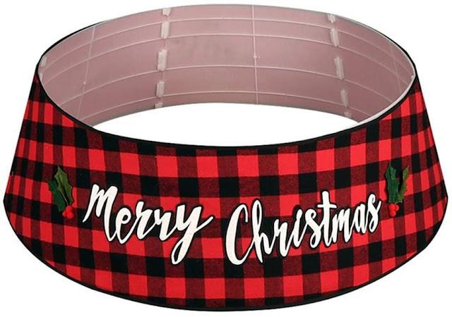 red and black buffalo check Christmas tree collar